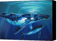 Whale Canvas Prints - Deep Water Devotion Canvas Print by Deb LaFogg-Docherty