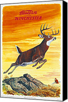 Winchester Canvas Prints - Deer Hunter Canvas Print by J G Woods
