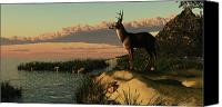 Critter Canvas Prints - Deer Lake Canvas Print by Corey Ford
