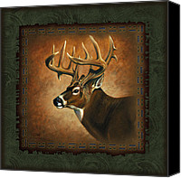 Buck Canvas Prints - Deer Lodge Canvas Print by JQ Licensing