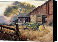 Country Painting Canvas Prints - Deere Country Canvas Print by Michael Humphries