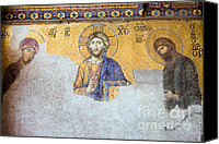 Byzantine Icon Canvas Prints - Deesis Mosaic of Jesus Christ Canvas Print by Artur Bogacki
