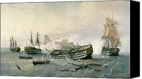 Shipwreck Painting Canvas Prints - Defence of the Havana Promontory  Canvas Print by Rafael Monleon y Torres