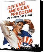 Worker Canvas Prints - Defend American Freedom Its Everybodys Job Canvas Print by War Is Hell Store