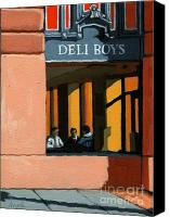 Linda Apple Canvas Prints - Deli Boys - Cafe Canvas Print by Linda Apple