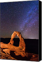 Star Photo Canvas Prints - Delicate Arch And Milky Way Canvas Print by Matthew Crowley Photography