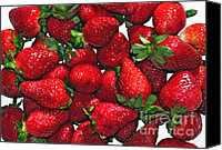 Red Berries Canvas Prints - Deliciously Sweet Strawberries Canvas Print by Kaye Menner