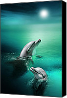 Dolphins Digital Art Canvas Prints - Delightful Dolphins Canvas Print by Julie L Hoddinott