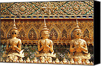 Textured Sculpture Canvas Prints - Demon Guardian Statues at Wat Phra Kaew Canvas Print by Panyanon Hankhampa