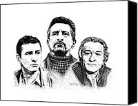 Robert Deniro Canvas Prints - Deniro Pen and Ink Drawing in Black and White Canvas Print by Mario  Perez