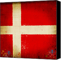 Abstract Map Digital Art Canvas Prints - Denmark flag Canvas Print by Setsiri Silapasuwanchai