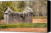 Farming Barns Canvas Prints - Dented Barn Canvas Print by Deborah Smolinske