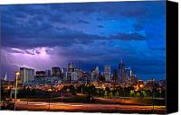 Skyline Canvas Prints - Denver Skyline Canvas Print by John K Sampson