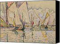Signac Canvas Prints - Departure of tuna boats at Groix Canvas Print by Paul Signac 