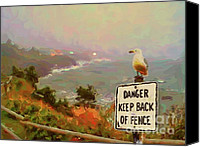 Oregon Art Pastels Canvas Prints - Depoe Bay Security Guard Canvas Print by Methune Hively