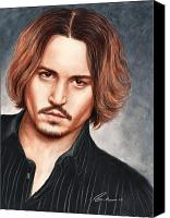 Celebrities Drawings Canvas Prints - Depp Canvas Print by Bruce Lennon
