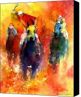 Horse Art Canvas Prints - Derby Horse race racing Canvas Print by Svetlana Novikova