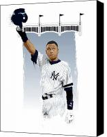 Derek Canvas Prints - Derek Jeter 3000 Hits Canvas Print by Scott Weigner