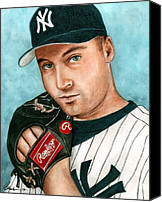 Baseball Painting Canvas Prints - Derek Jeter  Canvas Print by Bruce Lennon