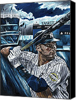 Mlb Painting Canvas Prints - Derek Jeter Canvas Print by David Courson
