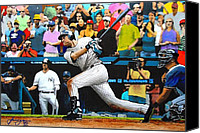 Major Mixed Media Canvas Prints - DEREK JETER delivers the 3000th hit - Yankee Stadium - July 9th 2011 Canvas Print by Dan Haraga