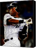 Derek Canvas Prints - Derek Jeter New York Yankee Canvas Print by Paul Ward
