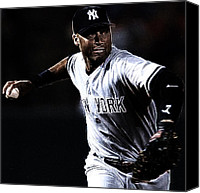 Mlb Canvas Prints - Derek Jeter Canvas Print by Paul Ward