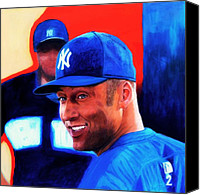 All-star Painting Canvas Prints - Derek Jeter Canvas Print by Shirl Theis