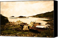 Derelict Canvas Prints - Derelict boat in Outer Hebrides Canvas Print by Jasna Buncic