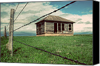 Barbed Wire Fence Canvas Prints - Derelict House on the Plains Canvas Print by Thomas Zimmerman