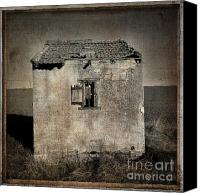Textured Canvas Prints - Derelict hut  textured Canvas Print by Bernard Jaubert