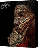 Canvas Mixed Media Canvas Prints - Derrick Rose Typeface Portrait Canvas Print by Dominique Capers