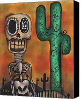Sugar Skull Painting Canvas Prints - Desert Canvas Print by  Abril Andrade Griffith