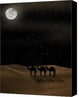 Camel Digital Art Canvas Prints - Desert Moon Canvas Print by Gravityx Designs