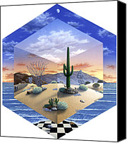 Shaped Painting Canvas Prints - Desert on My Mind 2 Canvas Print by Snake Jagger