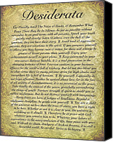 Antique Canvas Prints - DESIDERATA on Antique Paper Canvas Print by Harley MacDonald
