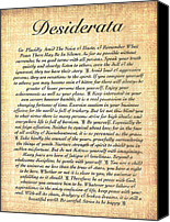 Wood Mixed Media Canvas Prints - DESIDERATA on Fossil Wood Paper Canvas Print by Harley MacDonald