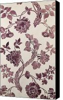 Textile Tapestries - Textiles Canvas Prints - Design for a silk damask Canvas Print by Anna Maria Garthwaite
