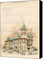 Justice Painting Canvas Prints - Design of Bexar County Court House. San Antonio TX. 1894 Canvas Print by James Riely Gordon