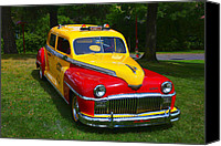 Antique Automobiles Canvas Prints - DeSoto Skyview Taxi Canvas Print by Garry Gay