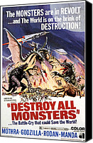 Horror Fantasy Movies Canvas Prints - Destroy All Monsters, 1968 Canvas Print by Everett