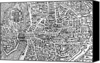 Geography Drawings Canvas Prints - Detail from a map of Paris in the reign of Henri II showing the quartier des Ecoles Canvas Print by French School