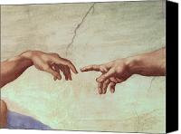 Fresco Canvas Prints - Detail from The Creation of Adam Canvas Print by Michelangelo