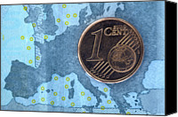 Cent Canvas Prints - Detail Of A Five Euro Banknote With A One Cent Euro Coin On Top Of It Canvas Print by Larry Washburn