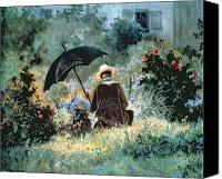 Sat Canvas Prints - Detail of a Gentleman reading in a garden Canvas Print by Carl Spitzweg