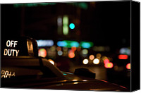 Taxi Canvas Prints - Detail Of A Taxi At Night, New York City, Usa Canvas Print by Frederick Bass