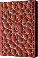 Creativity Canvas Prints - Detail Of Carvings On Wall In Agra Fort Canvas Print by Inti St. Clair