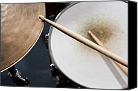 Drum Canvas Prints - Detail Of Drumsticks And A Drum Kit Canvas Print by Antenna