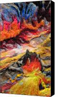 Reds Tapestries - Textiles Canvas Prints - Detail of Fire Canvas Print by Kimberly Simon