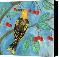 Sue Burgess Canvas Prints - Detail of Golden Orioles in a Cherry Tree Canvas Print by Sushila Burgess